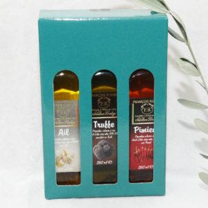 coffret huiles d'olive de caractère ail piment et truffe
