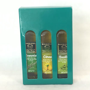 coffret huiles d'olive aromatisées romarin citron basilic
